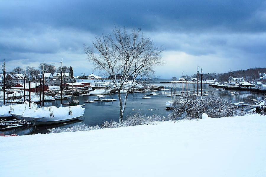 Seascape Photograph - Camden Harbor In The Snow by Doug Mills