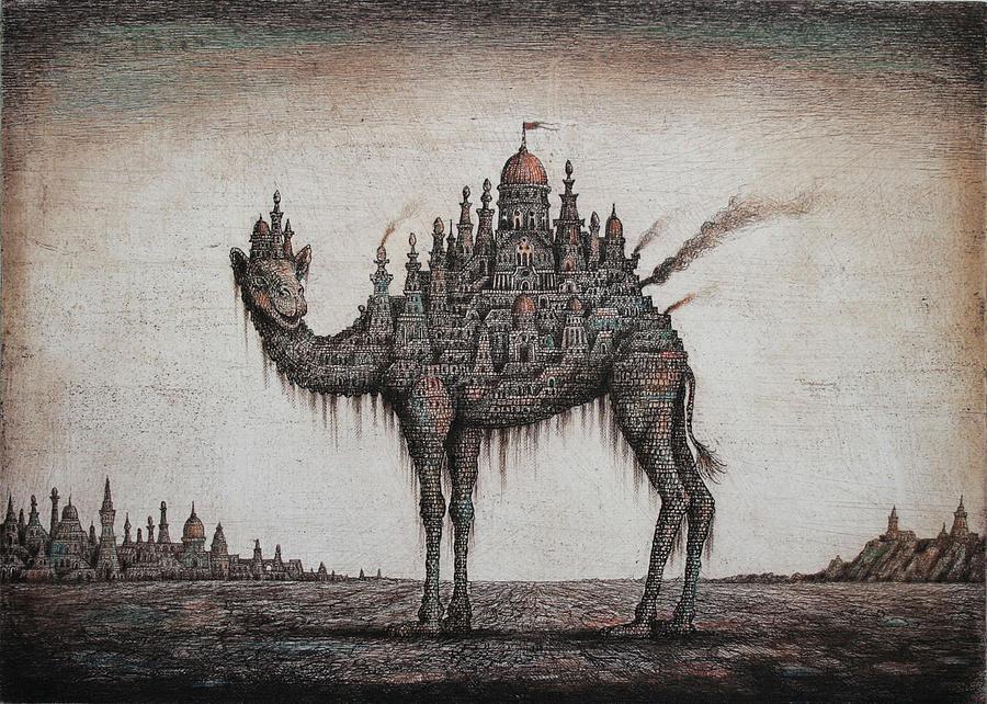Camel Drawing by Sergey Tyukanov