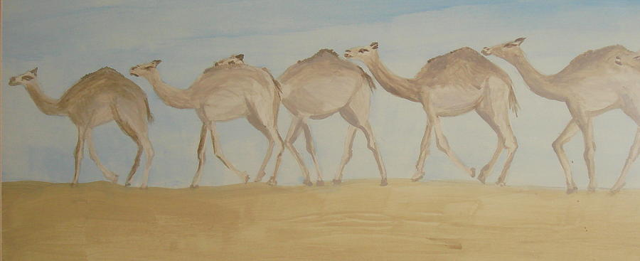 Camel Train Painting by Wendy Peat