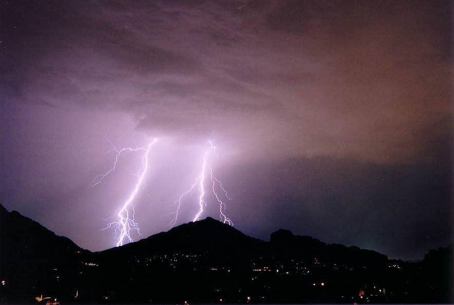 Lightning Photograph - Camelback Scratch by Cathy Franklin