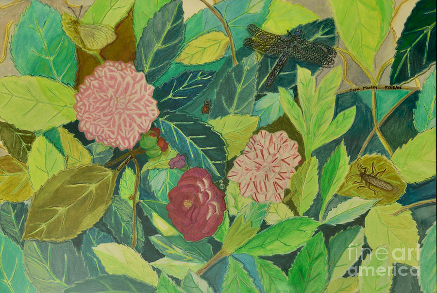Green Painting - Camellias by Cora Morley Eklund