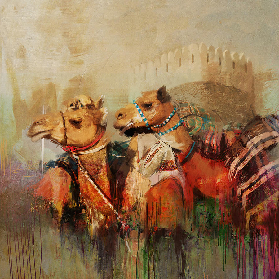 Camels And Desert 28 Painting By Mahnoor Shah