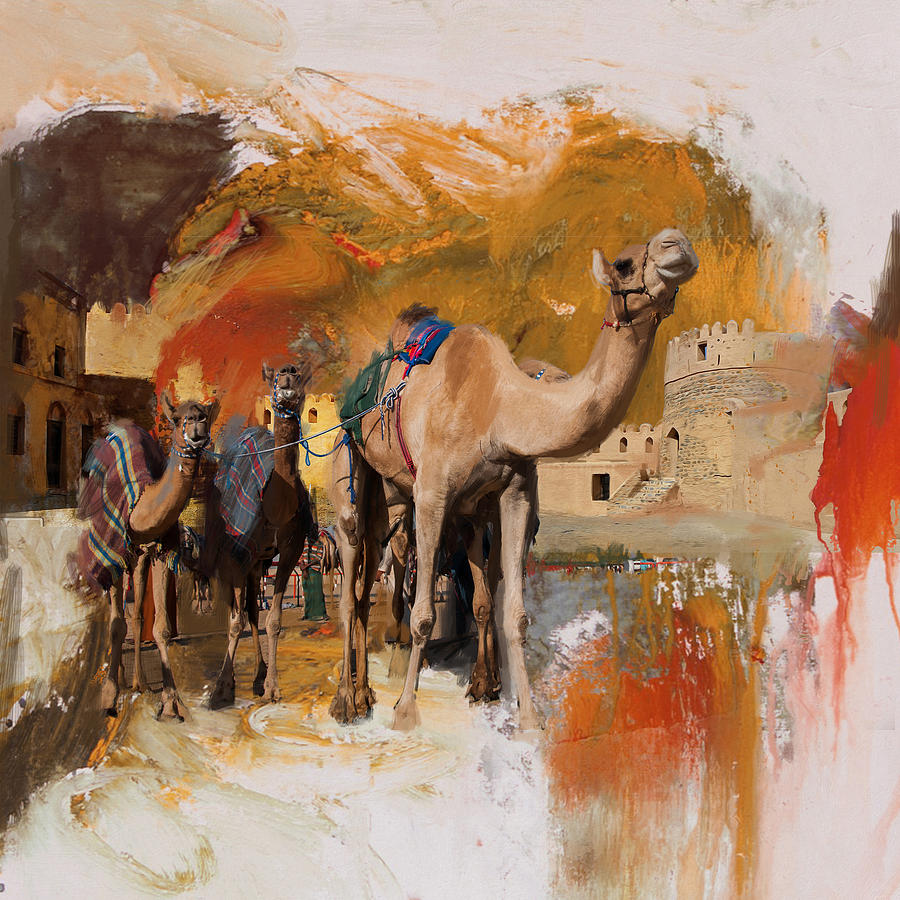 Camels And Desert 29 Painting By Mahnoor Shah