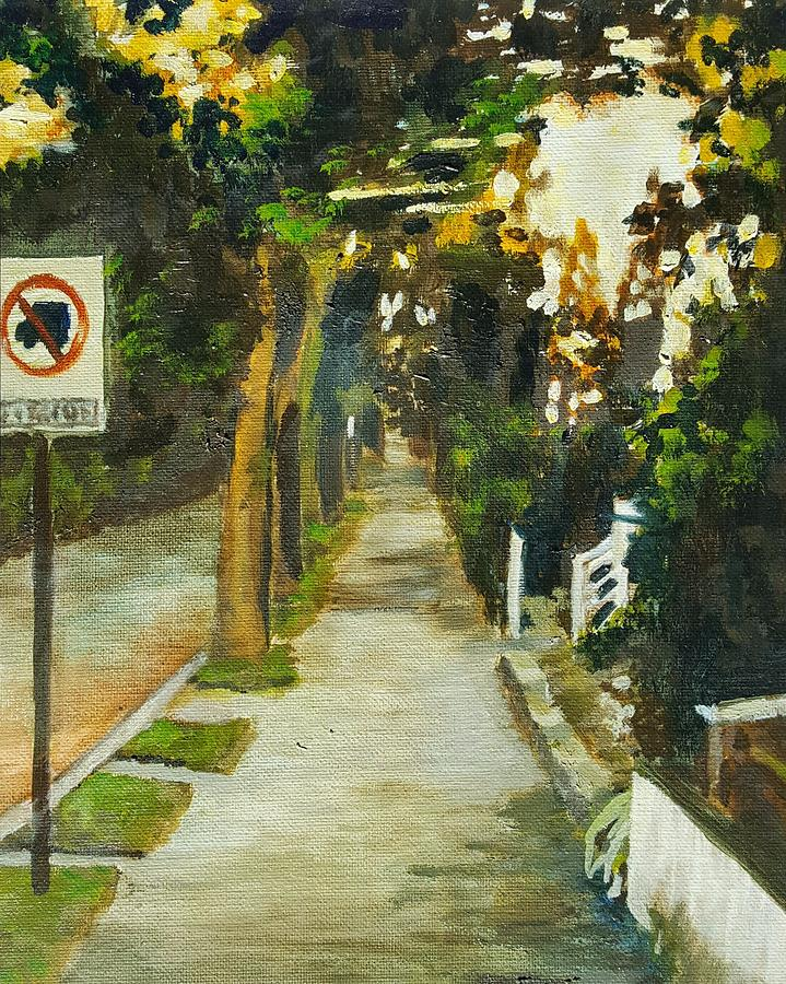 Landscape Painting - Cameron Sidewalk by Cara Foster Karim