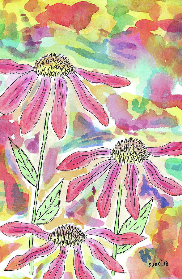 Watercolor And Ink Painting - Camouflage by Susan Campbell