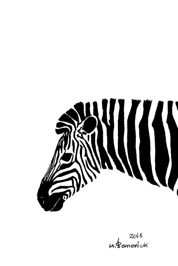 Zebra Drawing - Camouflaged Profile by Kayleigh Semeniuk