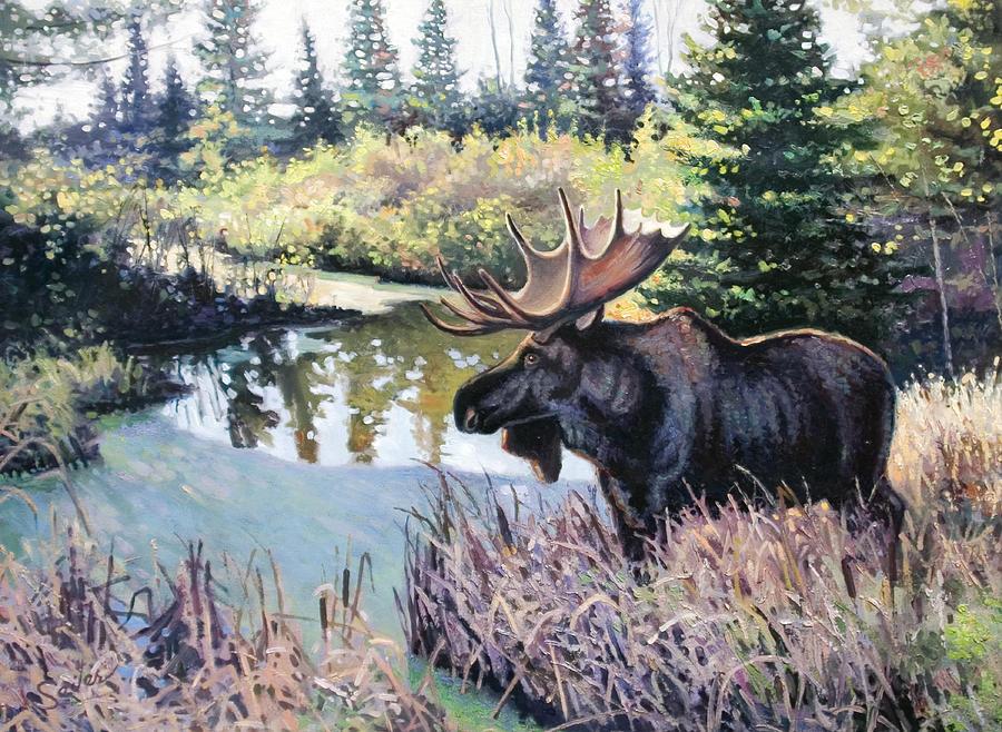 Wildlife Painting - Camp 20 Creek Moose by Larry Seiler