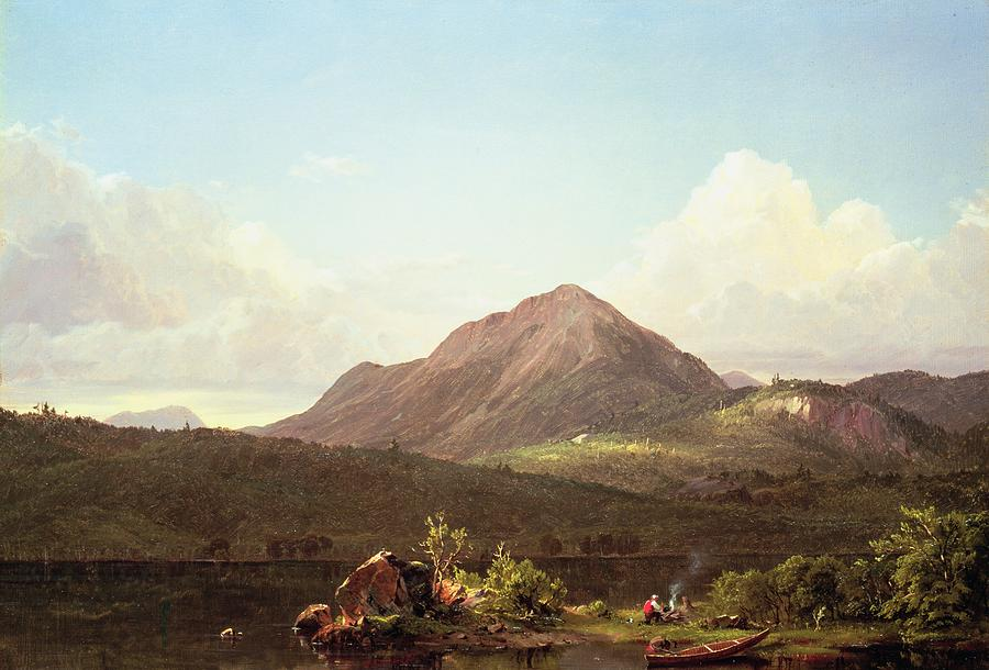 Hills Painting - Camp Fire In The Maine Wilderness by Frederic Edwin Church