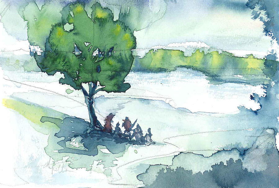 Watercolor Painting - Camp On The Lake by Don  Vella