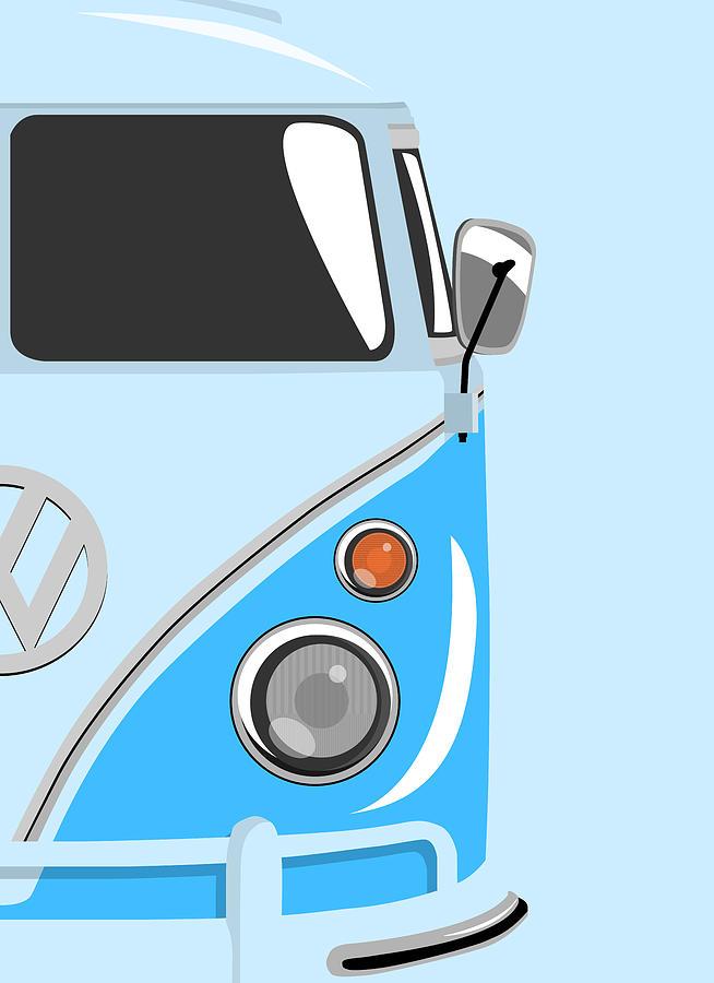 Vw Camper Van Digital Art - Camper Blue 2 by Michael Tompsett