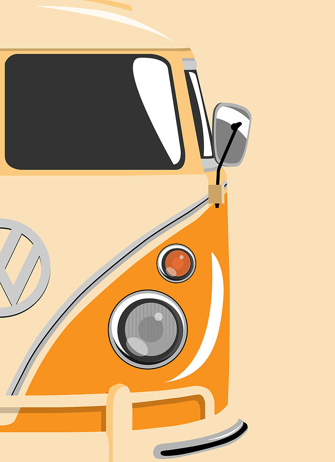 Vw Camper Van Digital Art - Camper Orange 2 by Michael Tompsett