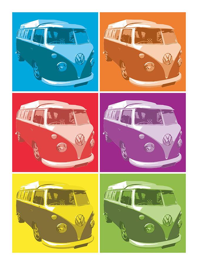 Favori Camper Van Pop Art Digital Art by Michael Tompsett ZF26