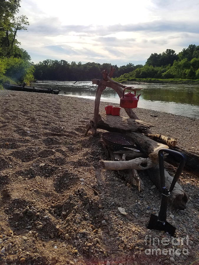 Old Photograph - Campfire Cooking Soon - Indiana Canoeing by Scott D Van Osdol