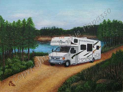 Motorhome Painting - Camping In Georgia by Kathie Papasso