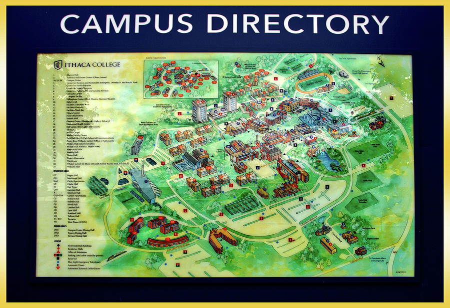 Campus Map Ithaca College.Campus Directory Ithaca College New York Signage Photograph By