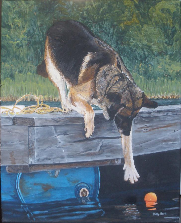 Dog Painting - Can She... by Betty-Anne McDonald