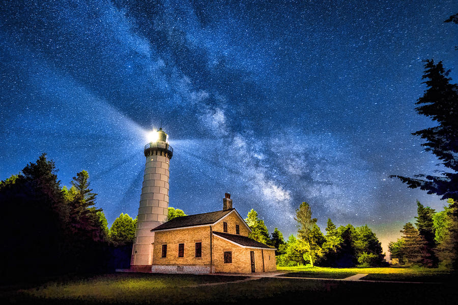 Cana Island Lighthouse Milky Way In Door County Wisconsin