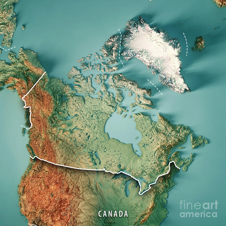 Topography Map Of Canada Canada 3D Render Topographic Map Border Digital Art by Frank