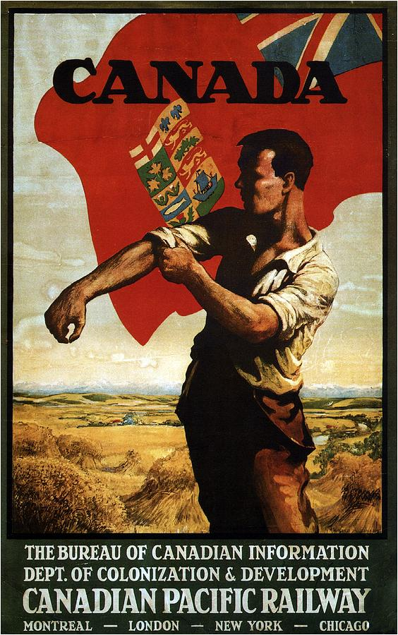 Canada - Canadian Pacific Railway - Flag - Retro Travel Poster - Vintage Poster Mixed Media