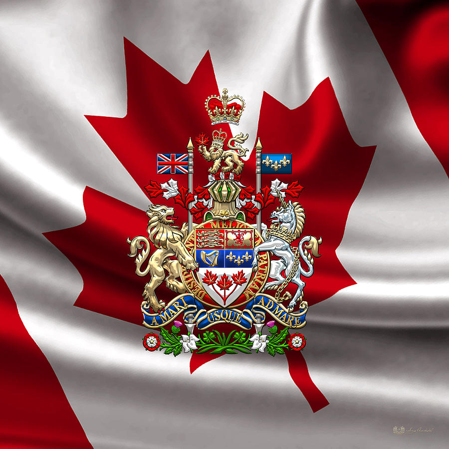 canada coat of arms over canadian flag digital art by serge averbukh