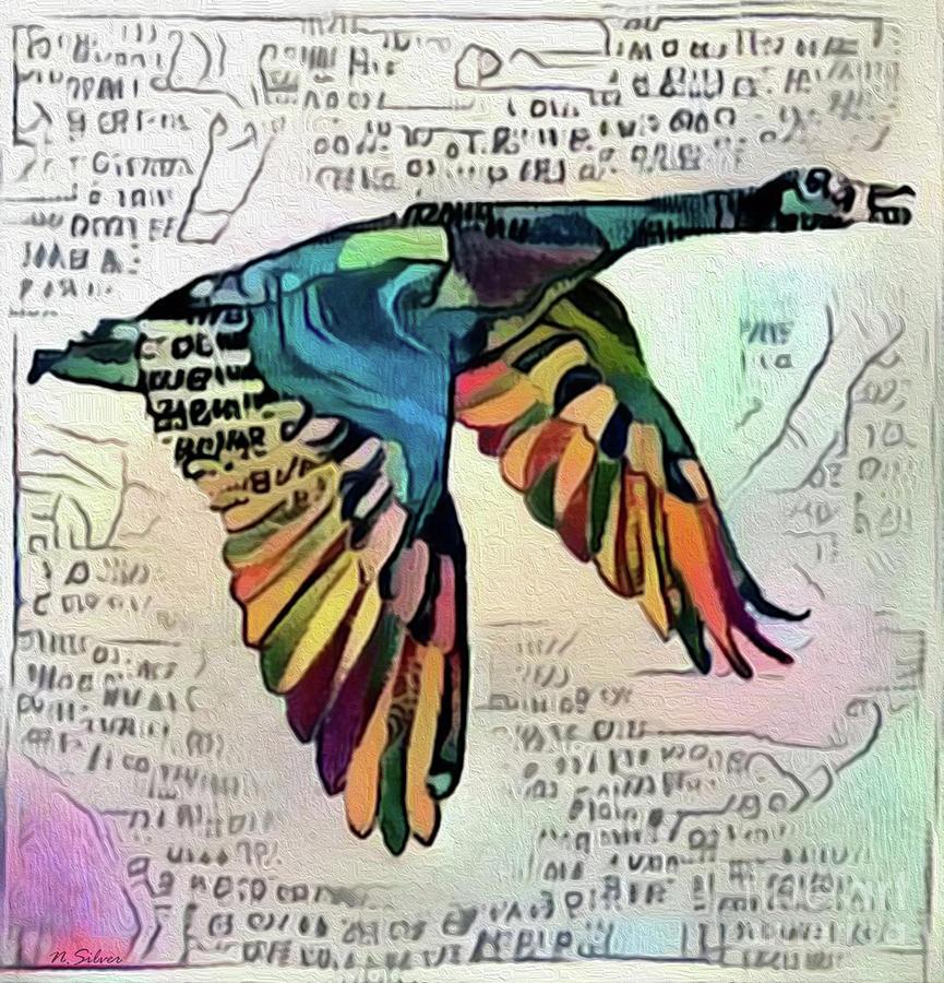Goose Drawing - Canada Goose A Modern Hieroglyph by Nina Silver