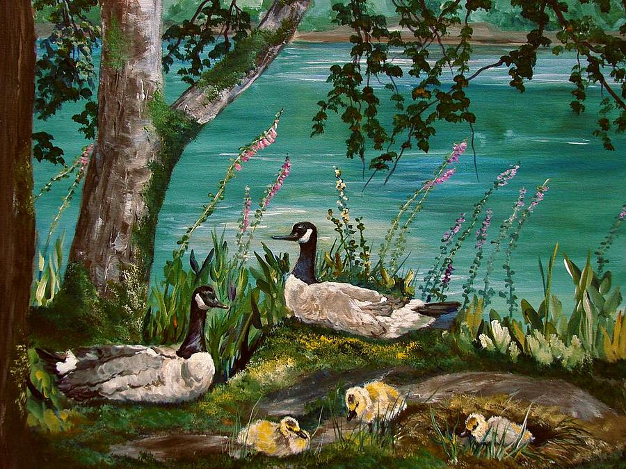 Canadian Geese Painting - Canadian Geese At Nw Trek by JR Hawse