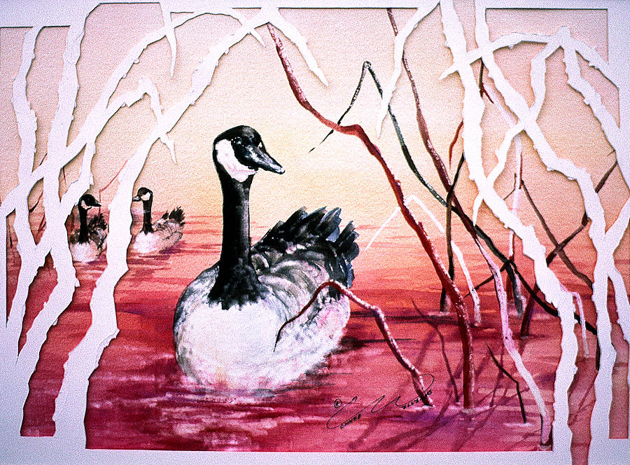 Canadian Geese Painting - Canadian Geese Sunset by Connie Williams