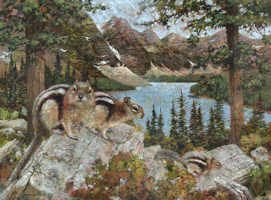 Chipmonks Painting - Canadian Ground Squirrels by David Lyons