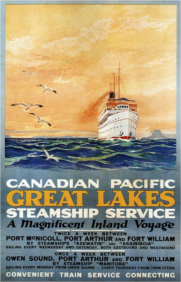 Great Lakes Mixed Media - Canadian Pacific - Great Lakes - Steamship Service - Retro travel Poster - Vintage Poster by Studio Grafiikka
