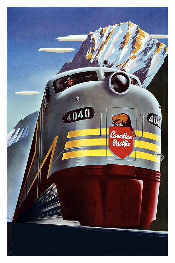 Canadian Pacific Mixed Media - Canadian Pacific - Railroad Engine, Mountains - Retro Travel Poster - Vintage Poster by Studio Grafiikka