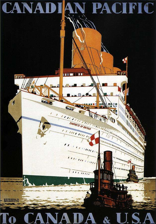 Canadian Pacific To Canada And Usa - Empress Of Britain - Retro Travel Poster - Vintage Poster Mixed Media