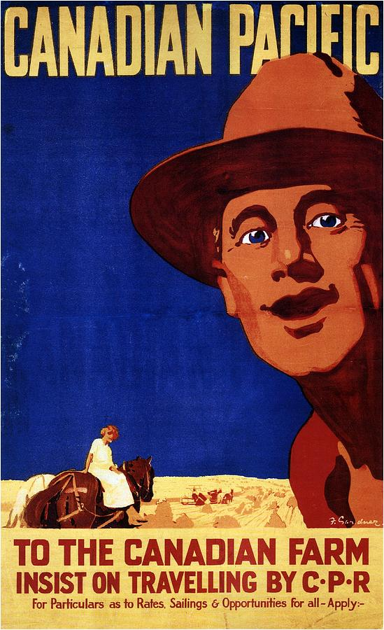Canadian Pacific To The Canadian Farm - Retro Travel Poster - Vintage Poster Mixed Media