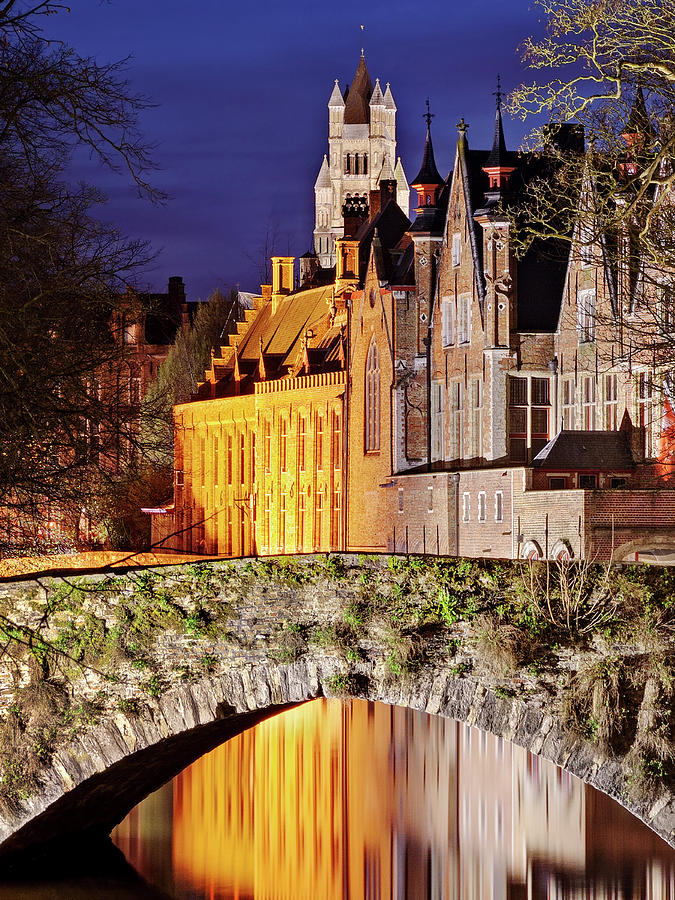 Bruges Photograph - Canal Bridge at Night - Bruges by Barry O Carroll