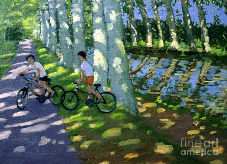 Boy Painting - Canal Du Midi France by Andrew Macara