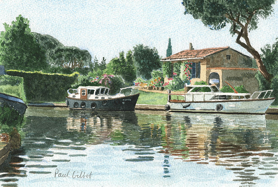 Boats Painting - Canal Du Midi X by Paul Gilbert