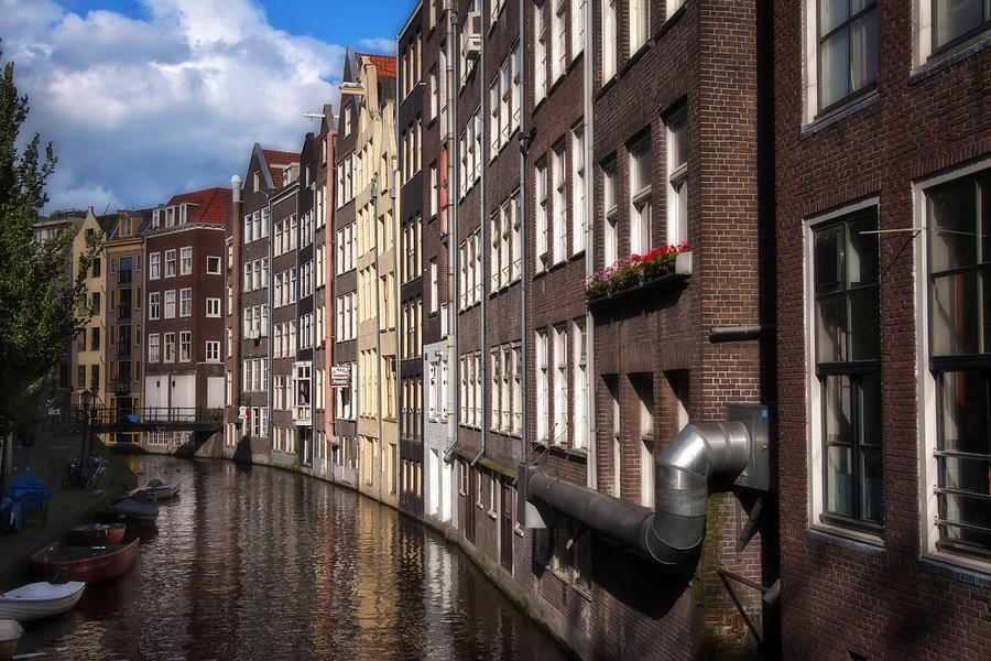 Amstel Photograph - Canal Houses by Joan Carroll
