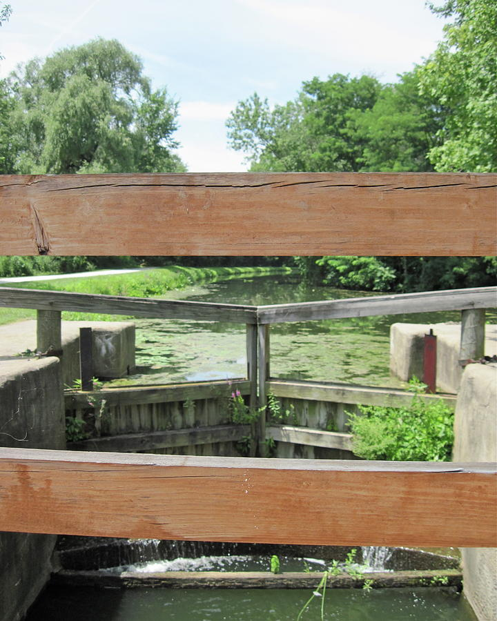 Ohio Photograph - Canal Lock with a View by Diane Stresing