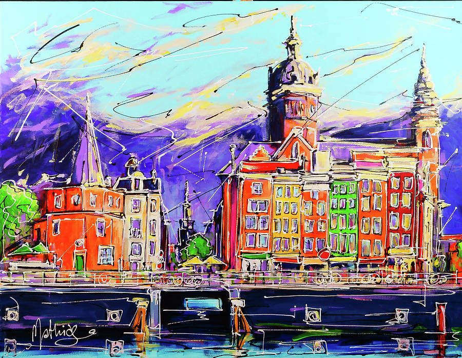 Amsterdam Painting - Canal Of Amsterdam, Storm Is Comming by Mathias