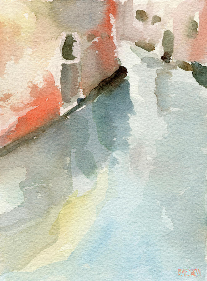 Venice Painting - Canal Reflection Watercolor Painting of Venice Italy by Beverly Brown Prints