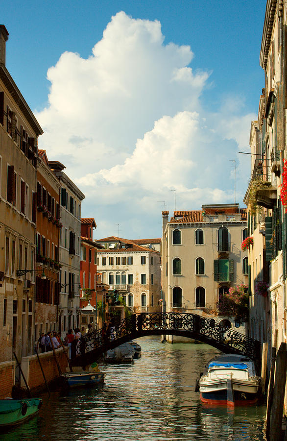 Venice Photograph - Canal With Iron Bridge In Venice by Michael Henderson