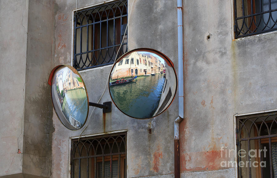 Canals Photograph - Canals Reflected In Mirrors In Venice Italy by Louise Heusinkveld