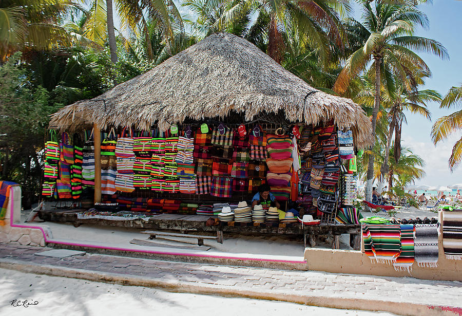 Cancun Mexico - Isla Mujeres - Selling Goods At The Beach Photograph