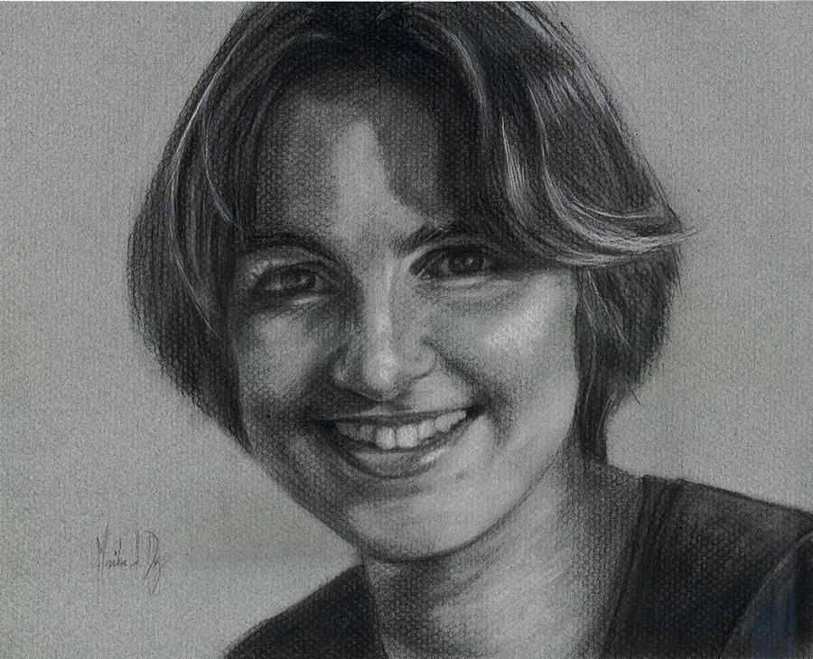 Portrait Drawing - Candace by Monika Degan