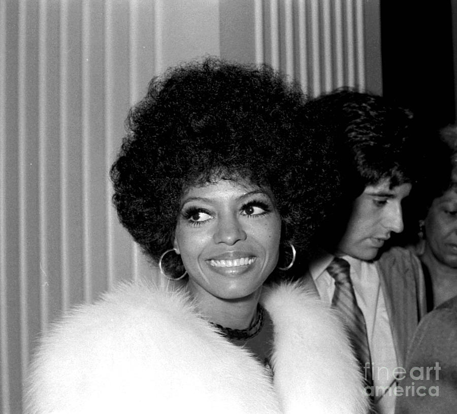1971 Photograph - Candid Diana Ross in Fur Fine Art Print by Phil Roach