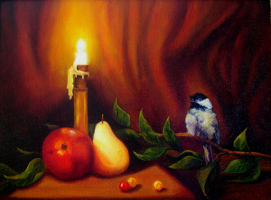 Chickadee Painting - Candle Light Melody by Valerie Aune