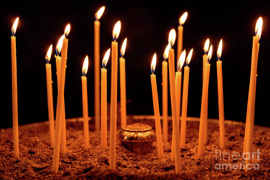 Candles at The Church Of Holy Luke At Monastery Of Hosios ...