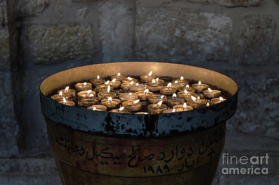 Candles in the Church of Nativity, Bethlehem by Perry Rodriguez