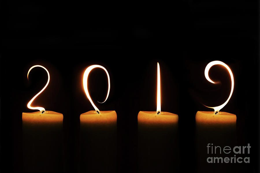 2019 Digital Art - Candles New Year Card by Delphimages Photo Creations