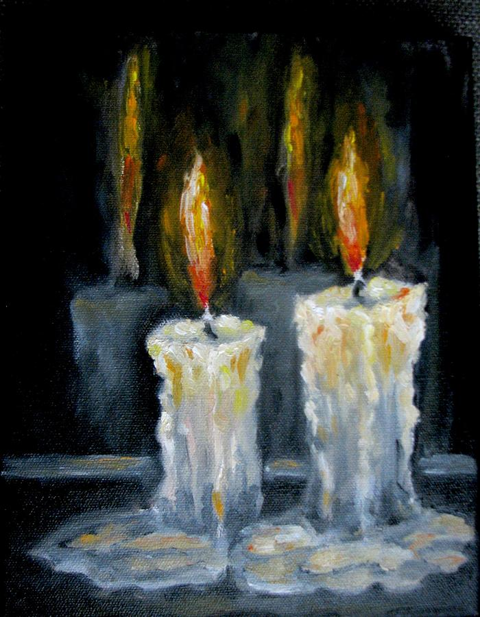 Candles oil painting painting by natalja picugina for Can you paint candles with acrylic paint