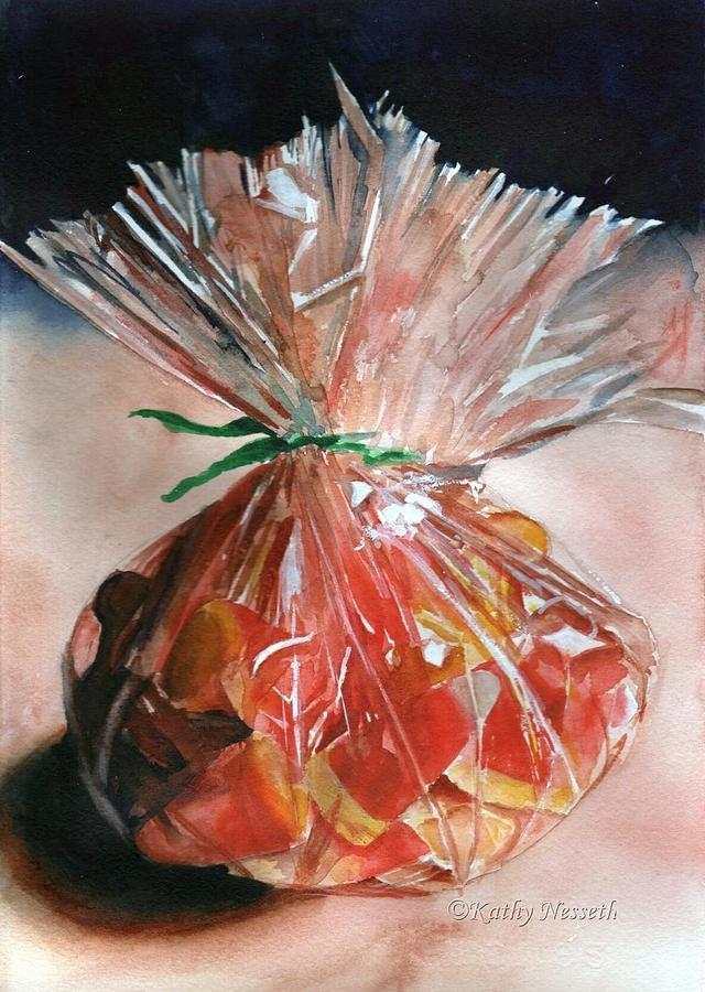 Watercolor Painting - Candy Corn by Kathy Nesseth